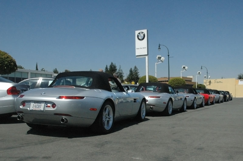 The line of cars look splendid basking in the California  sunshine. Peter Pan, Aug 08 (photo: Dana Caldwell)